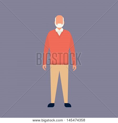 Senior Man Grandfather Full Length Grandpa Flat Vector Illustration