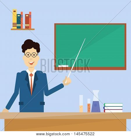 Professor Point Pointer To Green School Clack Board Flat Vector Illustration