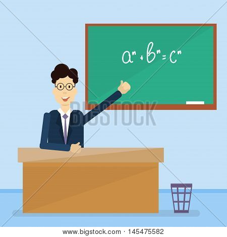 Professor Point Hand To Green School Clack Board Flat Vector Illustration poster