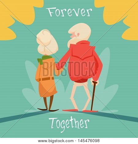 Senior Couple Walking Forever Together Grandparents Day Greeting Card Flat Vector Illustration