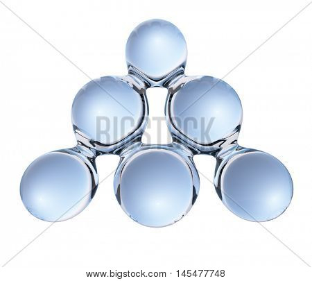 Abstract glass triangle molecule isolated on white background. 3D rendering.