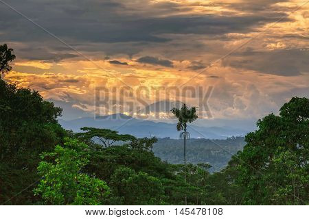 Sangay Also Known As Macas Sanagay Or Sangai Volcano Rising Up From The Jungle Ecuador South America