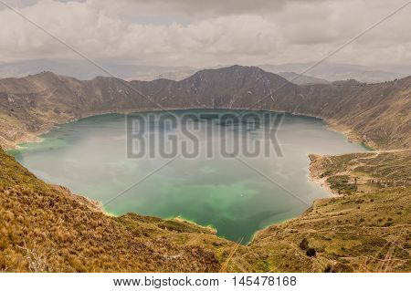 Volcano Crater Lake Panorama Quilotoa Ecuador South America
