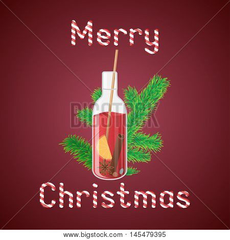 Vector illustration of mulled wine in a bottle with Christmas greeting sweets text.