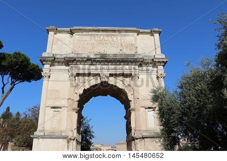 The Arch of Titus in the city of Rome
