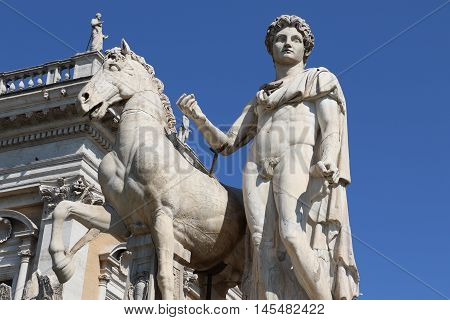 Castor statue at the entrance of the Capitoline Hill in Rome