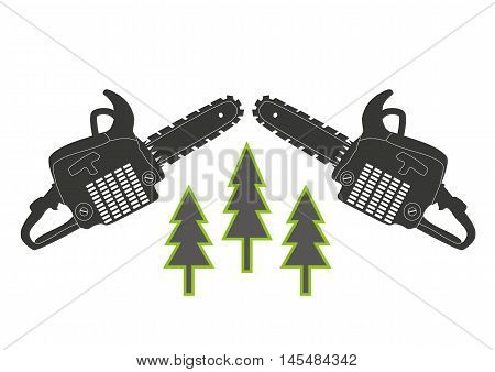icon, tool, gray chainsaw - vector image