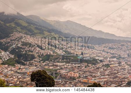 Aerial View Of Quito Ecuador South America