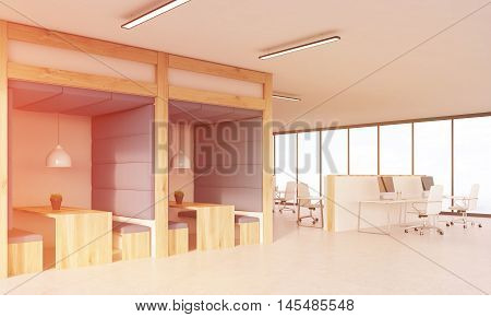 Blue Wall Dining Area And Cubicles