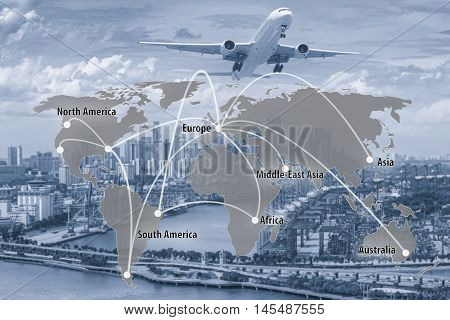 Virtual interface connection map of global partner connection use for logisticimportexport background.(Elements of this image furnished by NASA)