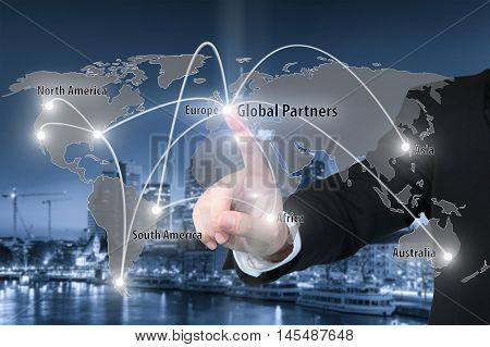 Businessman working with virtual interface connection map of global partner connection use for logisticimportexport background.(Elements of this image furnished by NASA)