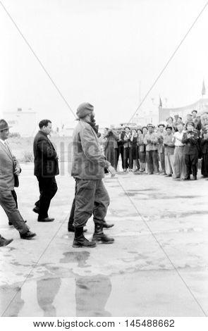 Yangiyer Uzbekistan - May 10 1963: Residents are met Fidel.