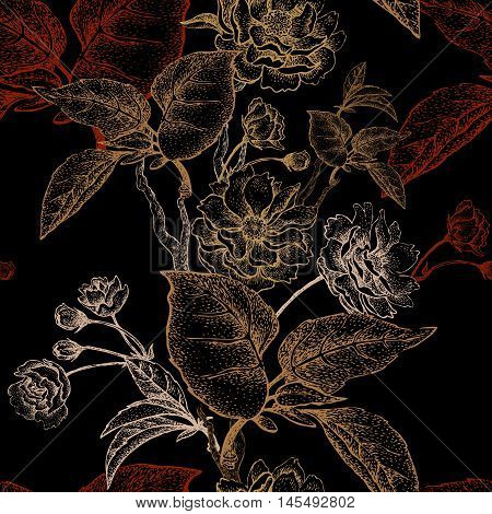 Chinese plum flower. Seamless vector pattern with gold foil embossing on a black background. Vintage illustration.