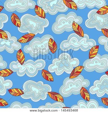 Seamless pattern on the theme of autumn abstract leaves and clouds against the sky