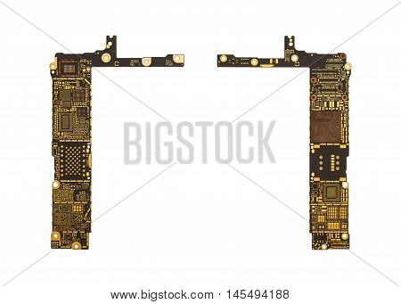 Top View of Blank Smart Phone Circuit Board (Mother Board) without Microchip and IC Isolate on White Background with Clipping Path