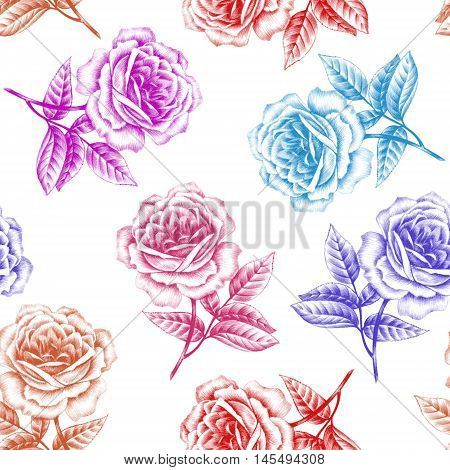 Roses on a white background. Seamless floral pattern. Vector.