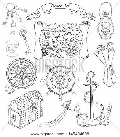 Black and white design set with silhouettes of map, compass, lamp, anchor, wheel, trunk and other pirate theme objects, with hand drawn elements