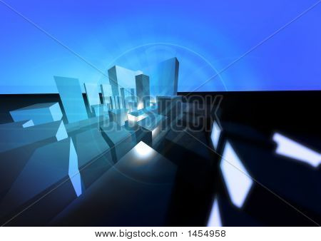 Abstract City Blue
