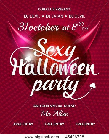 Sexy Halloween party pink club invitation flyer with text on shine abstract background and devil horns
