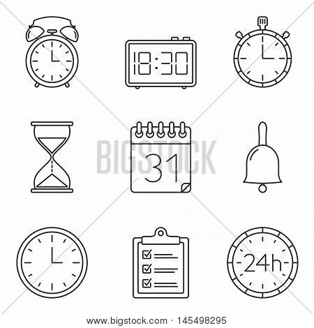 Agenda, calendar, clock and time line icons, vector eps10 illustration