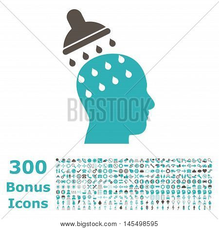 Brain Washing icon with 300 bonus icons. Glyph illustration style is flat iconic bicolor symbols, grey and cyan colors, white background.