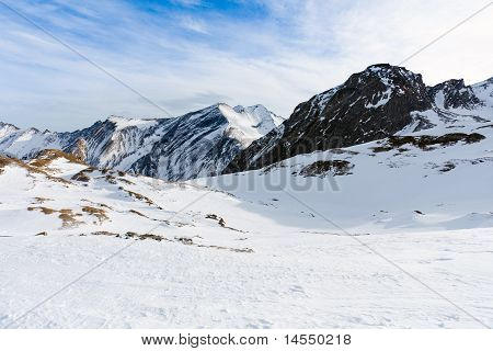 Winter With Ski Slopes Of Kaprun Resort