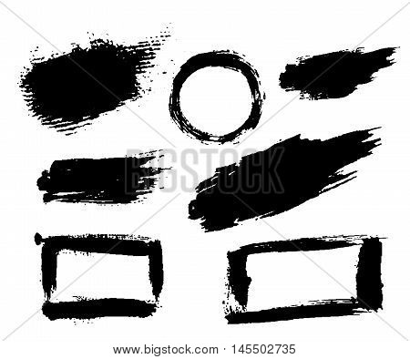 Grunge brushes texture white and black set. Sketch abstract to create distressed effect. Overlay distress dirty monochrome design. Stylish template modern background. Smear prints. Vector illustration poster