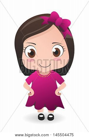 Vector Adorable Young Caucasian Girl Standing and Staring to the front