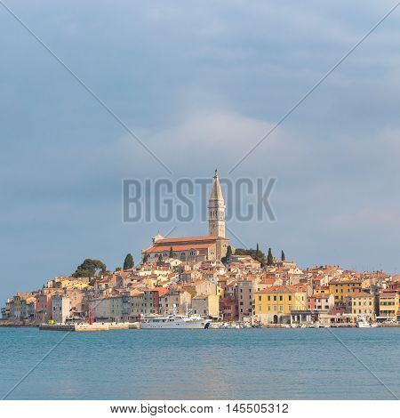 Beautiful View Of Rovinj City With Landmark Of Church Tower, Istria, Croatia, Europe.