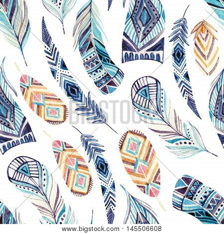 Watercolor ethnic feathers seamless pattern. Abstract ornated feathers with geometrical pattern on white background. Hand painted illustration for boho tribal design