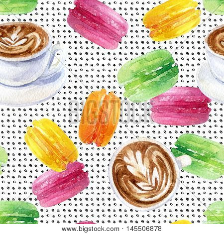 Watercolor french breakfast seamless pattern. Morning cup of coffee and macaroons on retro styled background. Hand painted french illustration