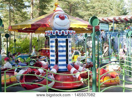 Kouvola, Finland 1 July 2015 - Ride Jummi Jammi In Motion In Amusement Park Tykkimaki