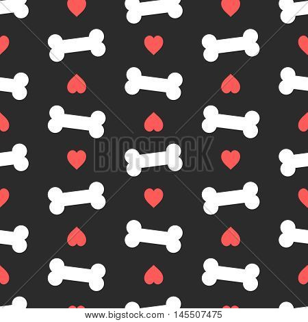 Pink hearts and bones seamless pattern. Good for textile and paper print, card, poster, another design. Cute funny dog feed vector illustration. Pet love theme.