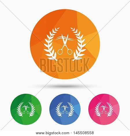 Scissors cut hair sign icon. Hairdresser or barbershop laurel wreath symbol. Winner award. Triangular low poly button with flat icon. Vector