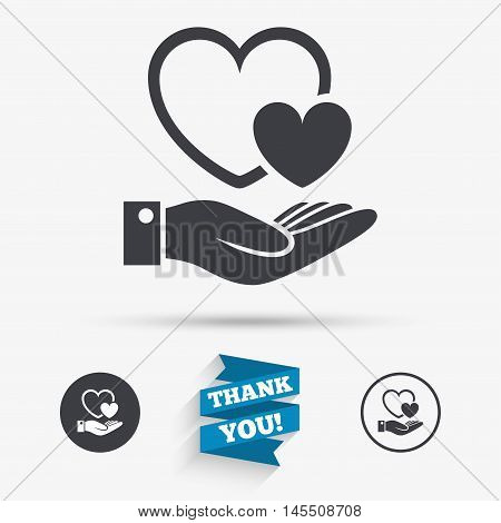 Hearts and hand sign icon. Palm holds love symbol. Flat icons. Buttons with icons. Thank you ribbon. Vector