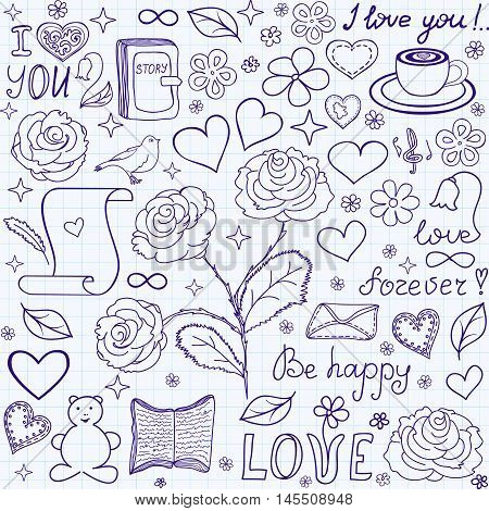 Beautiful vector seamless pattern with words of love, books and hearts,