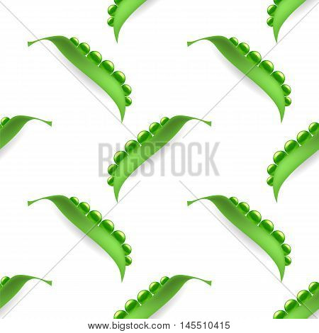 Fresh Natural Green Peas Seamless Pattern Isolated on White