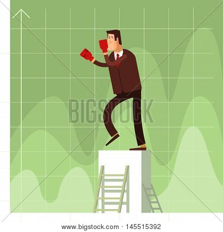 Businessman in red boxing gloves protected against business competitors. Vector flat illustration of a business concept competition background