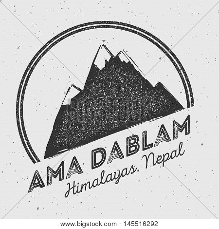 Ama Dablam In Himalayas, Nepal Outdoor Adventure Logo. Round Mountain Vector Insignia. Climbing, Tre