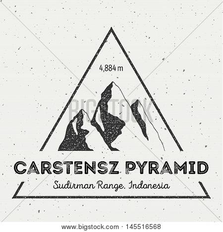 Carstensz Pyramid In Sudirman Range, Indonesia Outdoor Adventure Logo. Triangular Mountain Vector In
