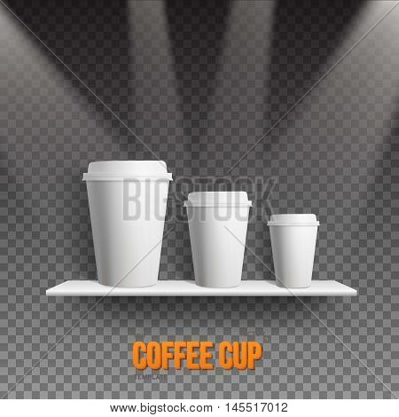 Illustration of Realistic Vector Coffee Cup Takeout Template Set. White Paper Coffee Cup Mockup Set on Shelf Under Transtarent Light Effects