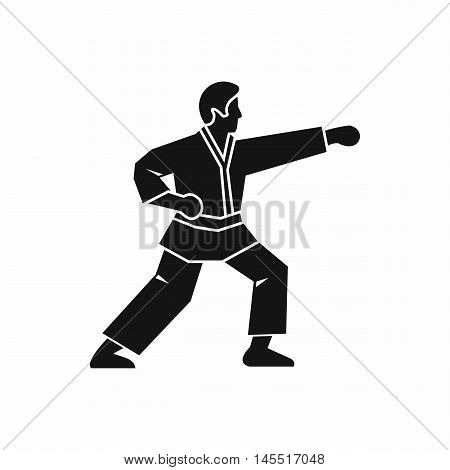 Aikido fighter icon in simple style isolated on white background. Martial arts symbol