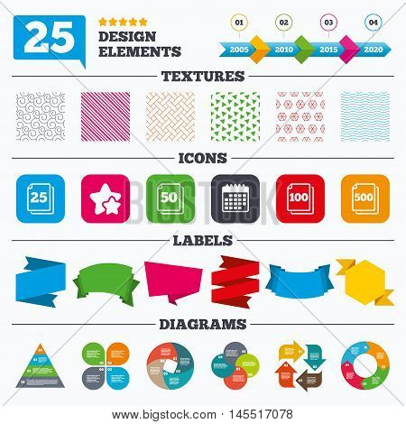 Offer sale tags, textures and charts. In pack sheets icons. Quantity per package symbols. 25, 50, 100 and 500 paper units in the pack signs. Sale price tags. Vector