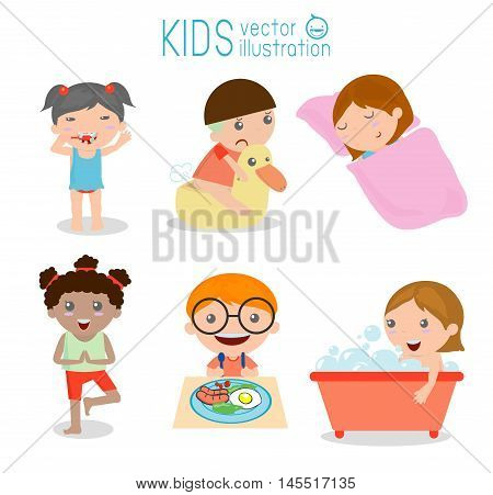 Health and hygiene, daily routines for kids, Vector Illustration.