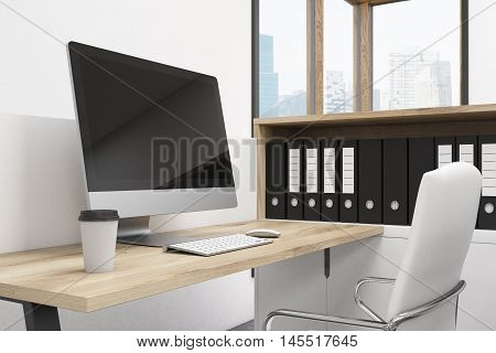 Office Room Corner With Computer