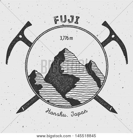 Fuji In Honshu, Japan Outdoor Adventure Logo. Climbing Mountain Vector Insignia. Climbing, Trekking,