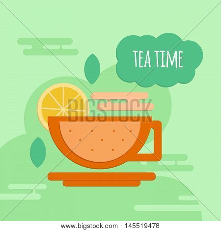 Five o'clock tea flat style concept. Tea time banner for coffeshops restaurants cafeteria and menu.