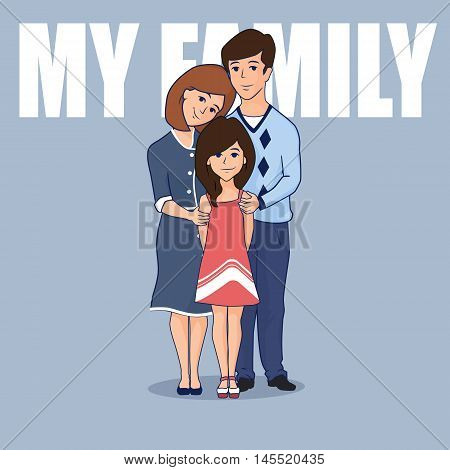 Happy family with one child. Vector cartoon illustration. Mother father and daughter standing together.
