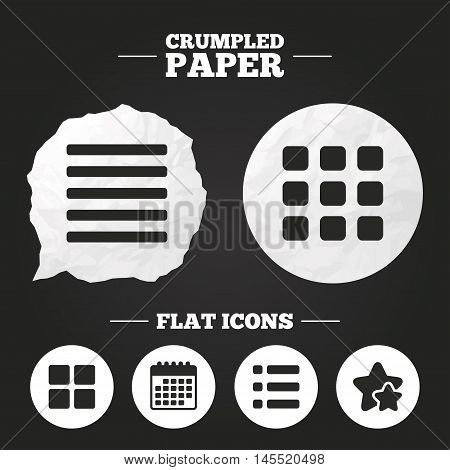 Crumpled paper speech bubble. List menu icons. Content view options symbols. Thumbnails grid or Gallery view. Paper button. Vector
