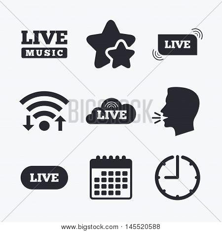 Live music icons. Karaoke or On air stream symbols. Cloud sign. Wifi internet, favorite stars, calendar and clock. Talking head. Vector